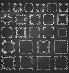 set of chalk vintage frames vector image vector image