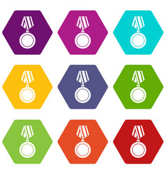 winning medal icon set color hexahedron vector image vector image