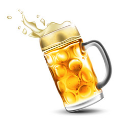 a mug of beer with a foamy splash very realistic vector image