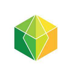 abstract cube colored logo image vector image