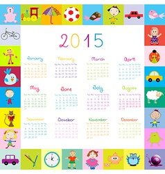 Frame with toys 2015 calandar for kids vector image