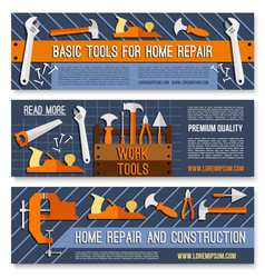 hand tool banner set for hardware store design vector image