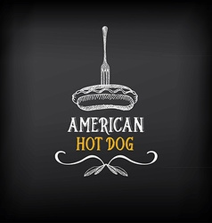 Hot dog badges and menu design elements vector image vector image