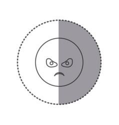 Sticker silhouette emoticon face furious vector