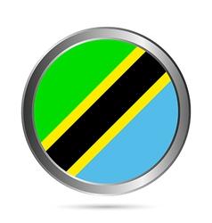 Tanzania flag button vector image vector image