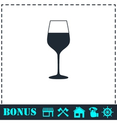 Wineglass icon flat vector image vector image