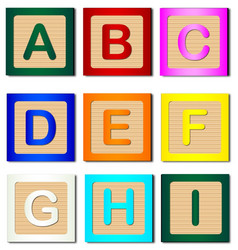 Wooden block letters a to i vector