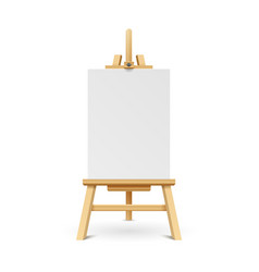 wooden paint board with white empty paper frame vector image