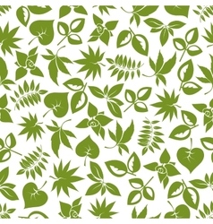 Green leaves retro seamless pattern vector image