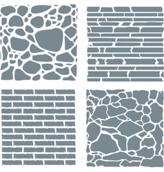 Stone and brick cladding texture set vector image
