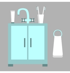 Washbasin Toothpaste Brushes Towel vector image