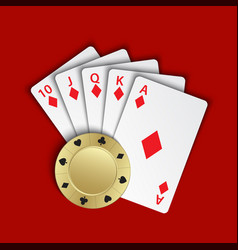 A royal flush of diamonds with gold poker chip on vector
