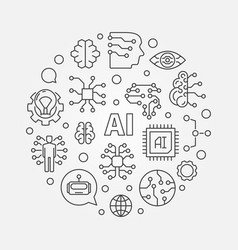 ai artificial intelligence concept round vector image