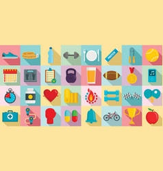 apps for fitness icons set flat style vector image