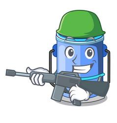Army cylinder bucket cartoon of for liquid vector