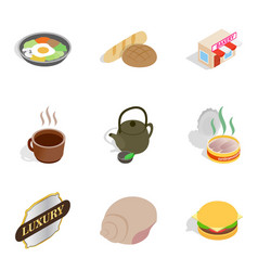 Bakehouse icons set isometric style vector