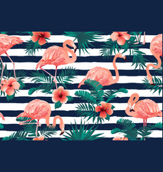 beautiful flamingo bird tropical flowers vector image
