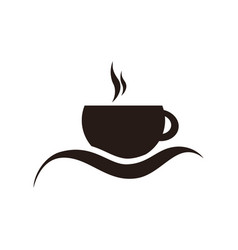 black silhouette emblem of coffee cup vector image