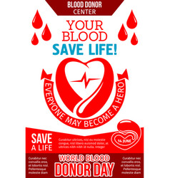 Blood donation banner with heart drop and ribbon vector