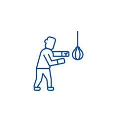 boxing sign line icon concept boxing sign flat vector image