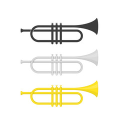 brass trumpet icons vector image