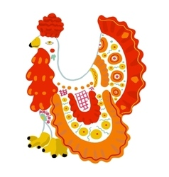 Bright toy cock in Russian Dymkovo style vector image