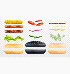 Burger constructor icon set vector