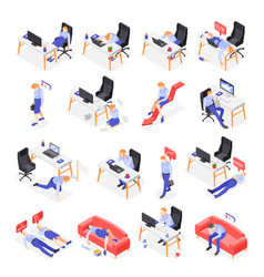 Burn-out syndrome isometric icons set vector