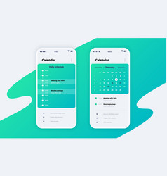 Calendar app phone application ui with vector