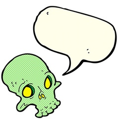 cartoon spooky skull with speech bubble vector image