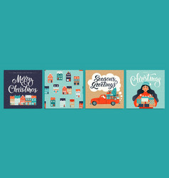 christmas and new year template set for greeting vector image