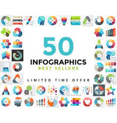 Circle infographics set 50 best seller vector