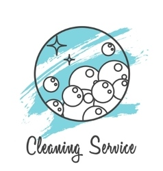 Cleaning service logo badge Soap bubbles icon vector