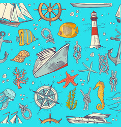 colored sketched sea elements pattern or vector image