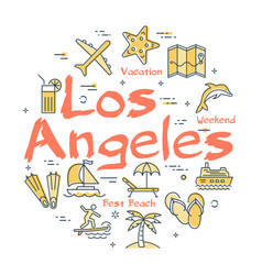 colorful icons in summer los angeles theme vector image