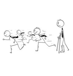 Conceptual cartoon of businessman with broken leg vector