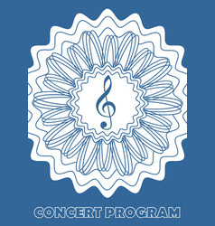 concert program cover template with treble clef in vector image