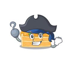 Cool cheesecake orange in one hand pirate cartoon vector