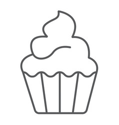 Cupcake thin line icon sweet and tasty dessert vector