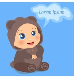 cute baby girl in suit with ears vector image
