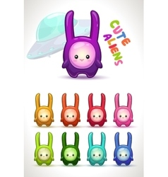 Cute colorful aliens with long ears vector