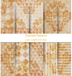damask patterns set collection baroque vector image