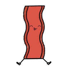 Delicious bacon kawaii character vector