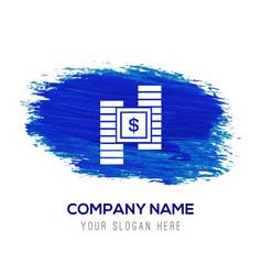 dollar money icon - blue watercolor background vector image