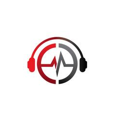 E letter dj in headphone logo template vector