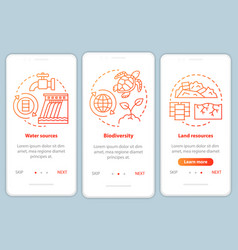 Earth resources onboarding mobile app page screen vector