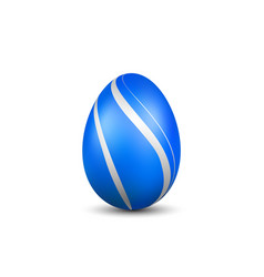 easter egg 3d icon blue silver egg isolated vector image