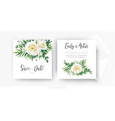 elegant floral wedding invite save date card vector image