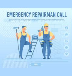 Emergency repairman team call flat webpage banner vector