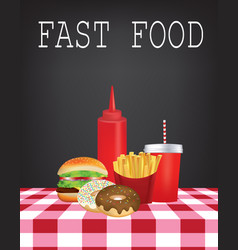 Fast food on tablecloth vector